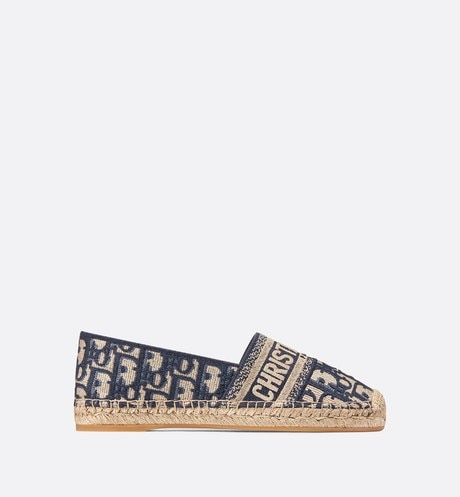 Deep Blue Dior Granville Dior Oblique Embroidered Cotton Espadrille aria_profileView