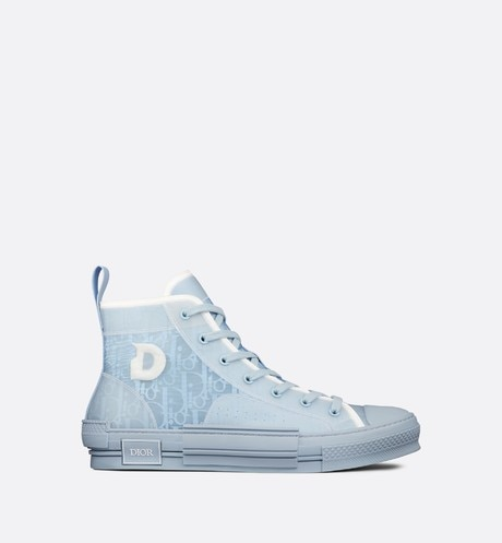 B23 DIOR AND DANIEL ARSHAM High-Top Sneaker in Light Blue Dior Oblique profile view