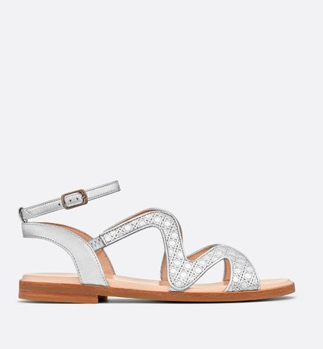 Silver-tone metallic lambskin leather sandals aria_profileView