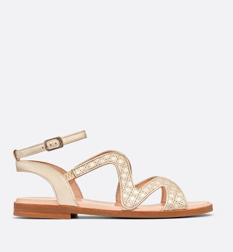Gold-tone metallic lambskin leather sandals aria_profileView