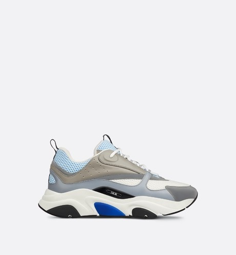 B22 Sneaker in White and Blue Technical Mesh and Gray Calfskin profile view