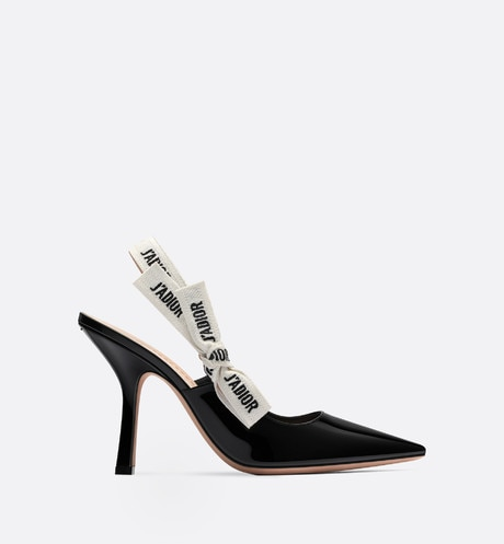 J'Adior slingback in black patent calfskin leather profile view
