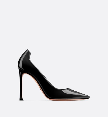 D-Moi patent calfskin high-heeled shoe Black profile view