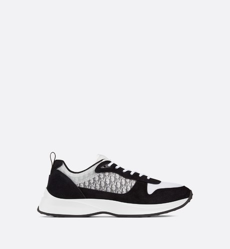 B25 Dior Oblique Runner Sneaker in Black Suede profile view