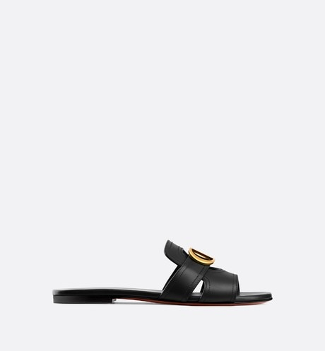 Black 30 Montaigne Slide Calfskin Mule profile view