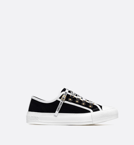 Walk'n'Dior low-top Sneaker in black canvas Black profile view
