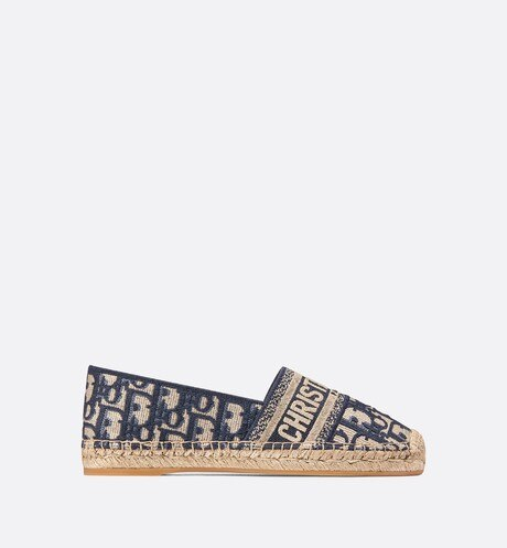 Deep Blue Dior Granville Dior Oblique Embroidered Cotton Espadrille profile view