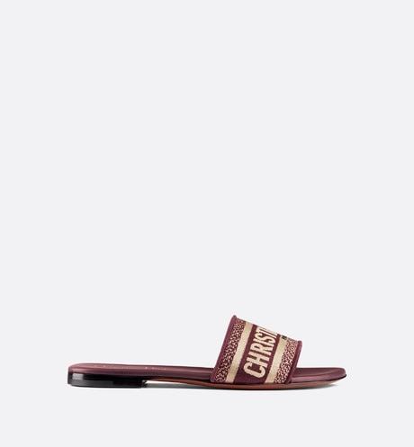 Dway embroidered cotton mule Burgundy profile view