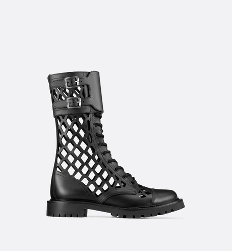 Black D-Trap Matte Calfskin Low Boot profile view