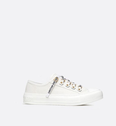 Walk'n'Dior low-top Sneaker in white canvas White profile view