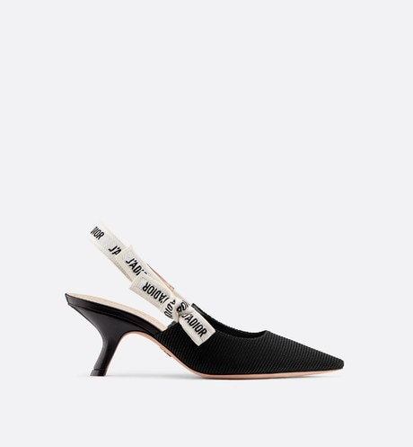 J'Adior slingback in black technical fabric profile view