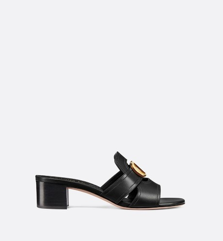 Black 30 Montaigne Slide Calfskin Heeled Mule aria_profileView