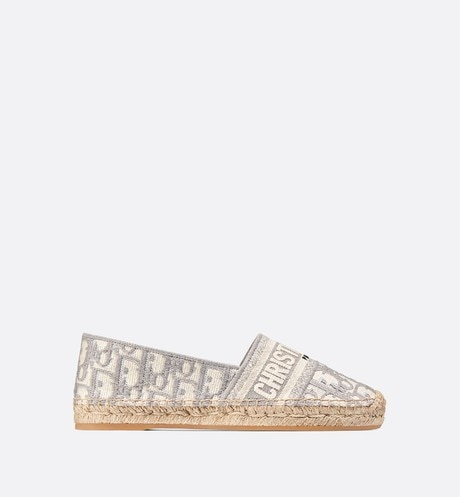 Gray Dior Granville Dior Oblique Embroidered Cotton Espadrille profile view