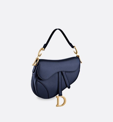Saddle bag in blue calfskin three quarter closed view