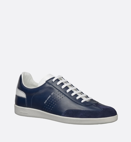 Blue and white smooth calfskin and blue suede calfskin Sneaker, b01 signature three quarter closed view