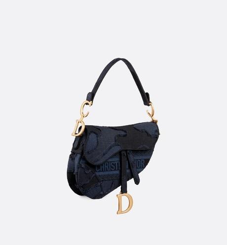 Blue Saddle Camouflage Embroidered Canvas Bag aria_threeQuarterClosedView