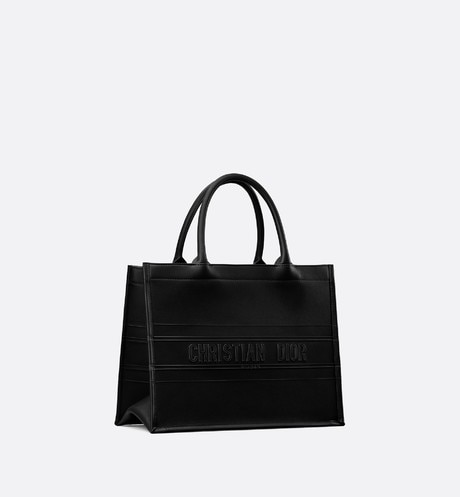 Small Black Calfskin Dior Book Tote aria_threeQuarterClosedView