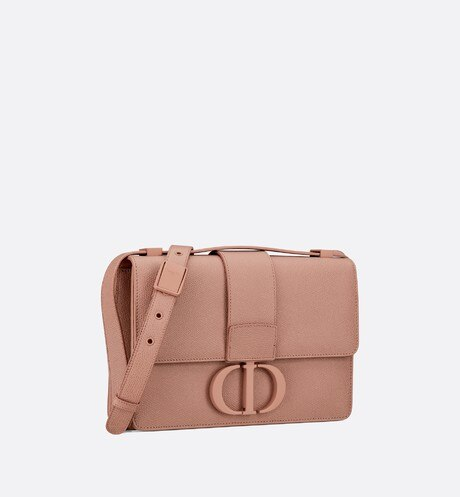 Matte Blush 30 Montaigne Stamped Grain Calfskin Flap Bag aria_threeQuarterClosedView