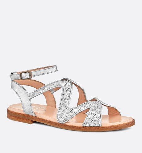 Metallic lambskin sandals aria_threeQuarterClosedView