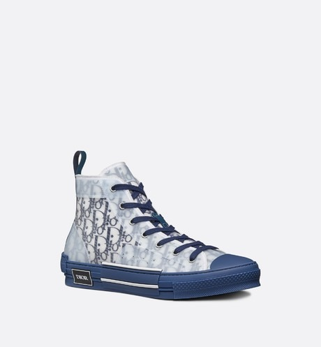 B23 High-Top Sneaker in Blue Dior Oblique three quarter closed view