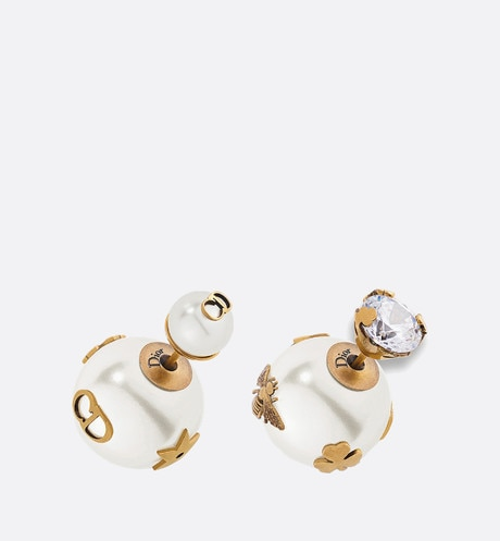 Dior Tribales earrings in aged gold-tone metal White aria_threeQuarterClosedView