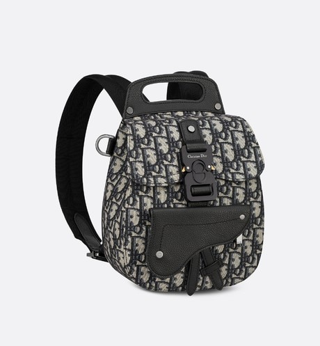 Navy Blue Dior Oblique Jacquard Mini Saddle Backpack aria_threeQuarterClosedView