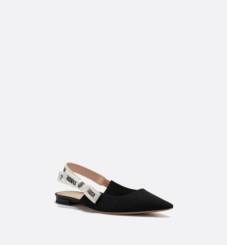 J'Adior ballerina in black technical canvas three quarter closed view