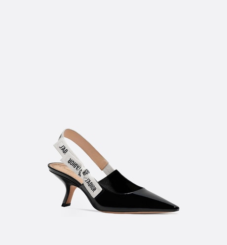 J'Adior slingback in black patent calfskin leather three quarter closed view