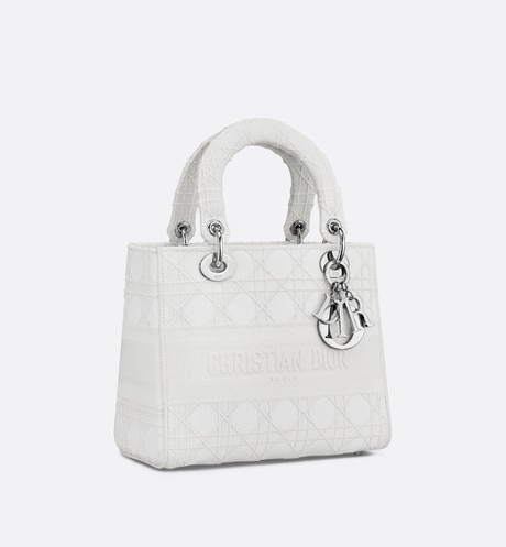Medium White Lady D-Lite Embroidered Cannage Bag aria_threeQuarterClosedView