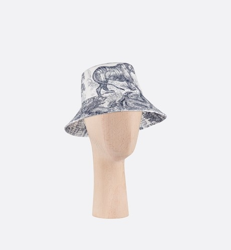 Click here to enlarge the product picture Blue Dioriviera Toile de Jouy Large Brim Cotton Denim Bucket Hat