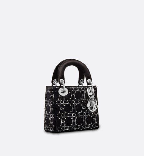 fd6b7ed1162a Mini Lady Dior satin bag three quarter closed view