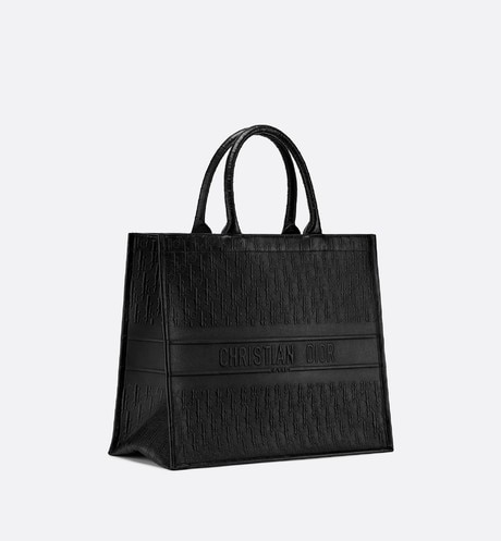 Black Dior Oblique Book Tote Bag aria_threeQuarterClosedView