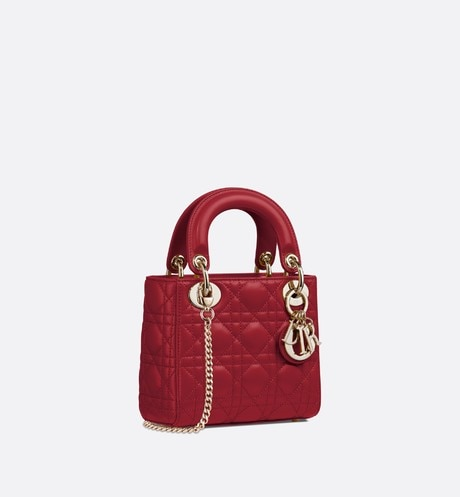 Cherry Red Lady Dior Mini Lambskin Chain Bag aria_threeQuarterClosedView