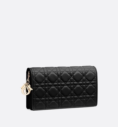 Lady Dior lambskin clutch three quarter closed view