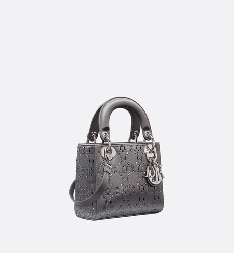 Mini sac Lady Dior en satin aria_threeQuarterClosedView