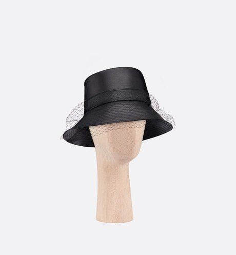 Teddy D black wide-brim bucket hat three quarter closed view