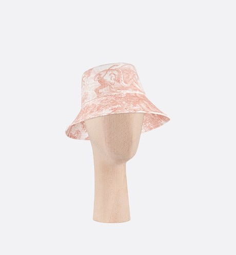 Dioriviera Toile de Jouy Large-Brim Bucket Hat Three quarter closed view