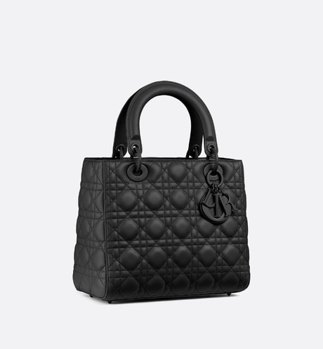 Lady Dior ultra-matte bag three quarter closed view