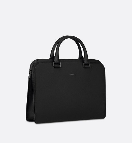 Black Grained Calfskin Briefcase three quarter closed view