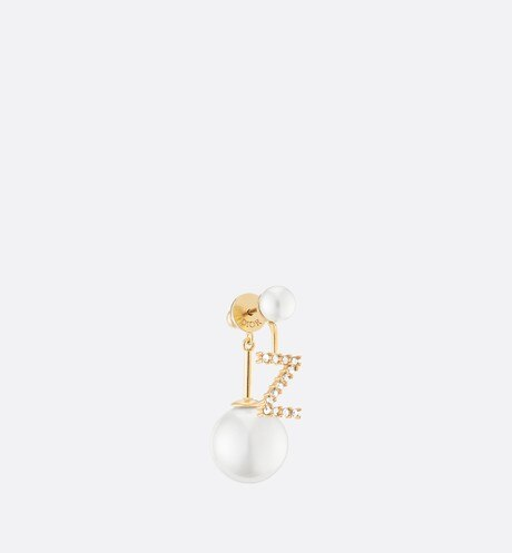White Crystal Letter 'Z' My ABCDior Tribales Gold Finish Earring aria_threeQuarterClosedView