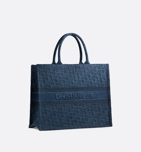 Blue Dior Oblique Embroidered Denim Dior Book Tote aria_threeQuarterClosedView