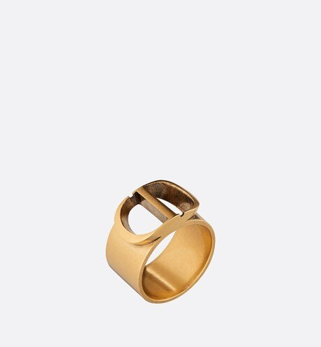30 Montaigne Antique Gold-Finish 'CD' Ring aria_threeQuarterClosedView