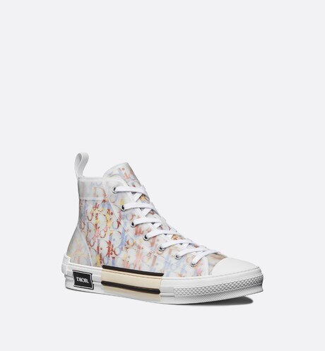 B23 High-Top Sneaker in Multicolor Dior Oblique three quarter closed view