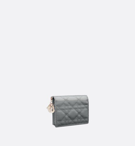 Click here to enlarge the product picture Mini Gray Stone Lady Dior Patent Calfskin Wallet