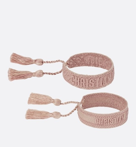 Click here to enlarge the product picture Pink J'Adior Dior Oblique Cotton Bracelet Set