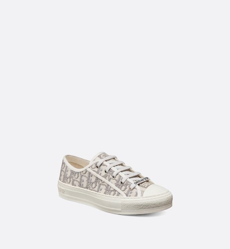 Gray Walk'n'Dior Dior Oblique Embroidered Cotton Sneaker three quarter closed view