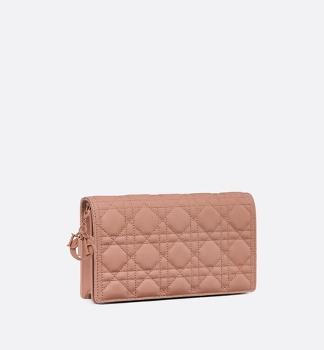Blush Lady Dior Calfskin Chain Pouch three quarter closed view
