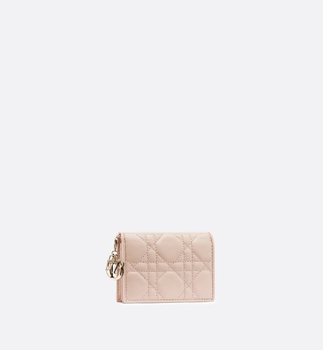 Lady Dior lambskin card holder aria_threeQuarterClosedView