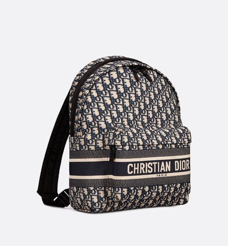 Blue Diortravel Original Dior Oblique Technical Canvas Backpack aria_threeQuarterClosedView