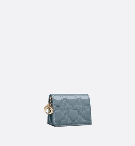 Lady Dior 5-Gusset Card Holder with Chain Cloud Blue Patent Cannage Calfskin - products   DIOR